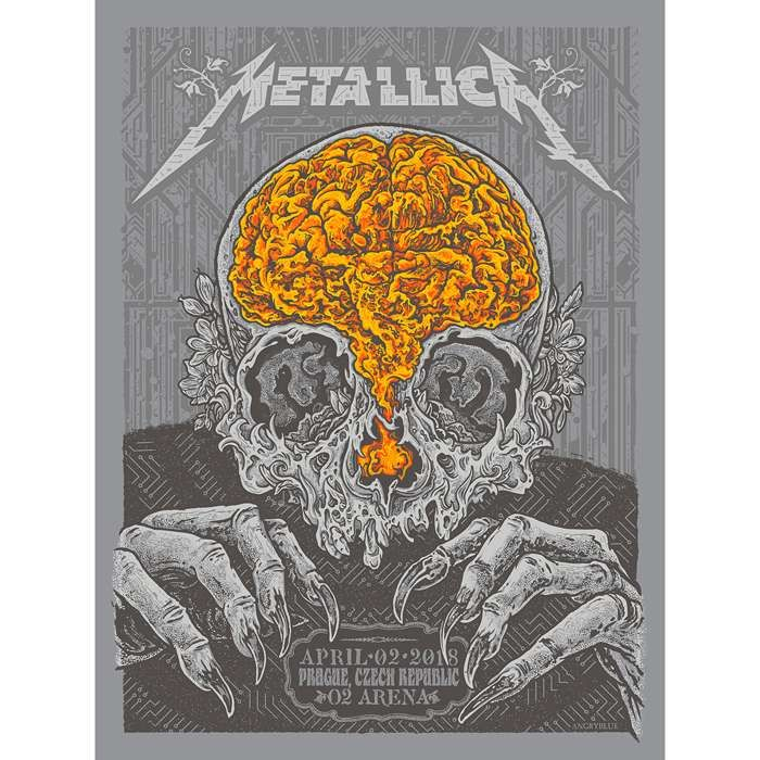 Prague April 2nd – Limited Edition Numbered Screen Printed Event Poster - Metallica