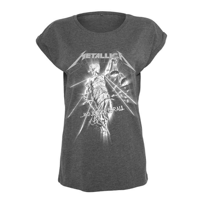 Raining Light – Ladies Dark Grey Roll Sleeve Tee - Metallica