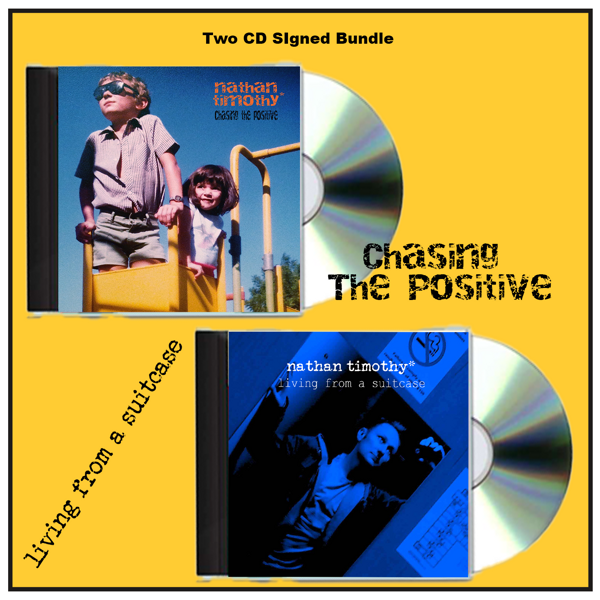 2CD's ***SIGNED****Chasing The Positive (CD) AND Living From A Suitcase (CD) Signed Bundle - Nathan Timothy