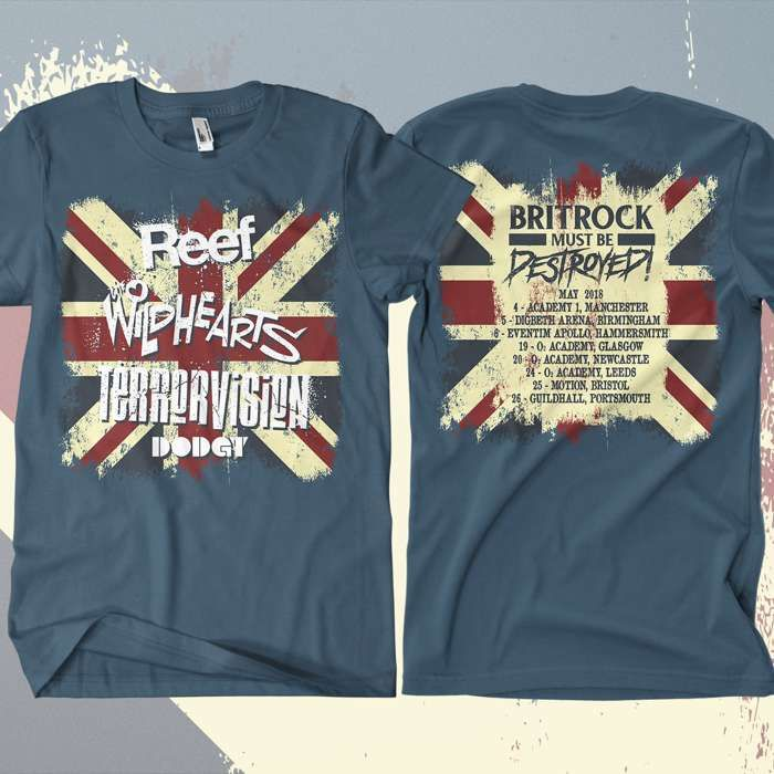 Reef - 'Britrock Must Be Destroyed' Blue UK Tour T-Shirt - Omerch