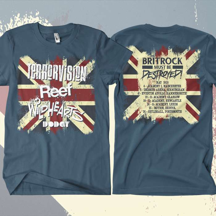Terrorvision - 'Britrock Must Be Destroyed' Blue UK Tour T-Shirt - Omerch