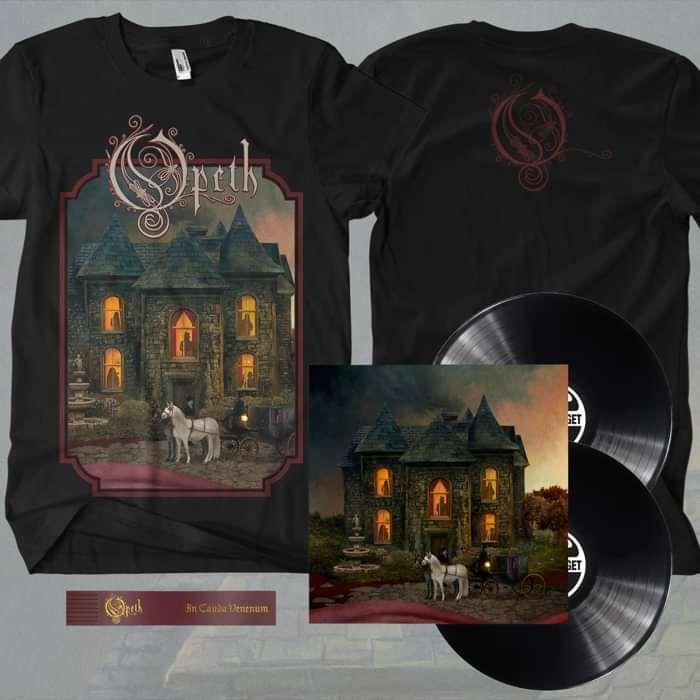 Opeth - 'In Cauda Venenum' English Edition 2LP Black Vinyl + FREE BOOKMARK + T-Shirt Bundle - Opeth