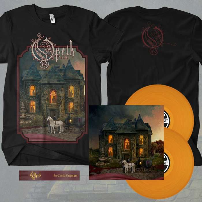 Opeth - 'In Cauda Venenum' *EXCLUSIVE* English Edition 2LP Orange Vinyl + FREE BOOKMARK + T-Shirt Bundle - Opeth