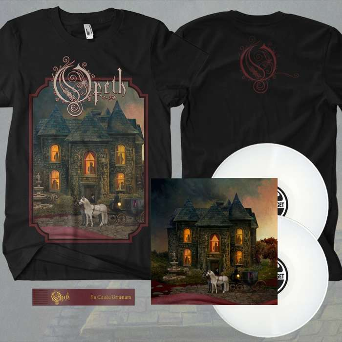 Opeth - 'In Cauda Venenum' *EXCLUSIVE* Swedish Edition 2LP White Vinyl + FREE BOOKMARK + T-Shirt Bundle - Opeth