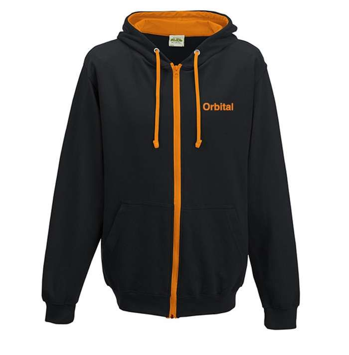 Orbital Black & Orange Embroidered Hoodie - Orbital