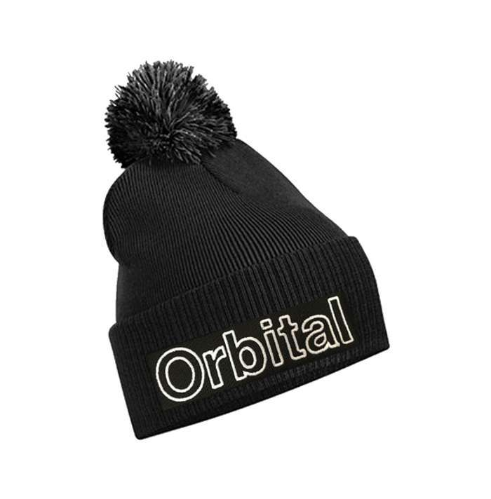 Orbital Black Embroidered Bobble Beanie - Orbital