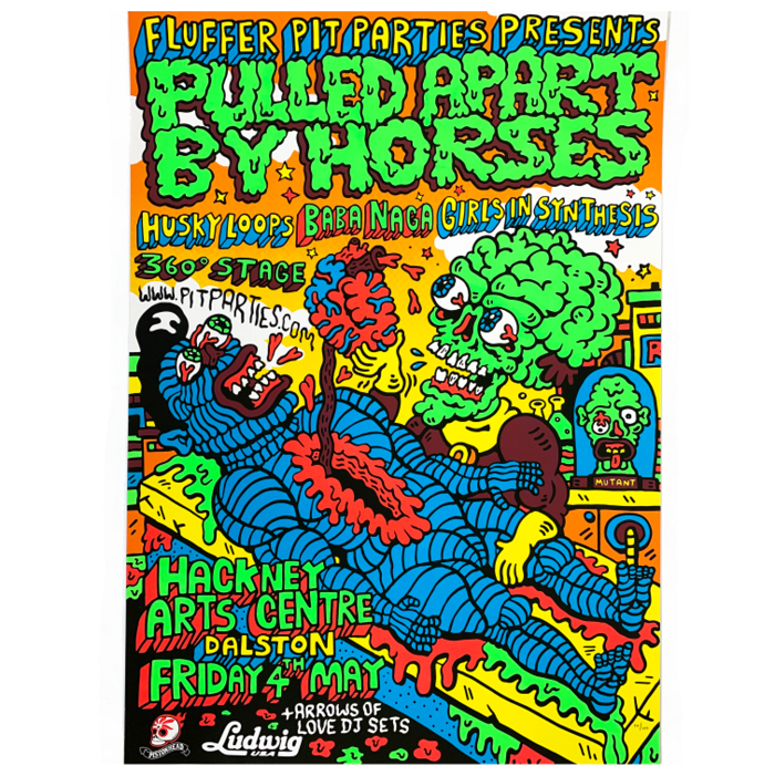 Fluffer Pit Party / Screenprint - Pulled Apart By Horses