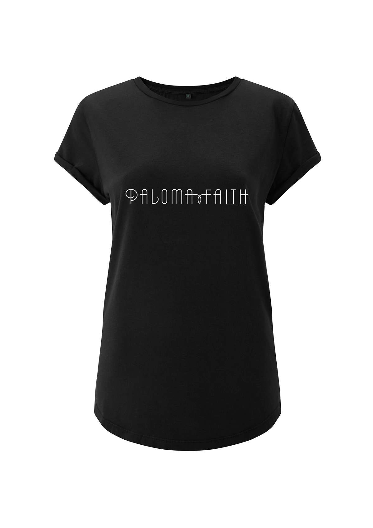 Logo Inspired – Black Ladies Wide Shoulder Roll Sleeve Tee - Paloma Faith