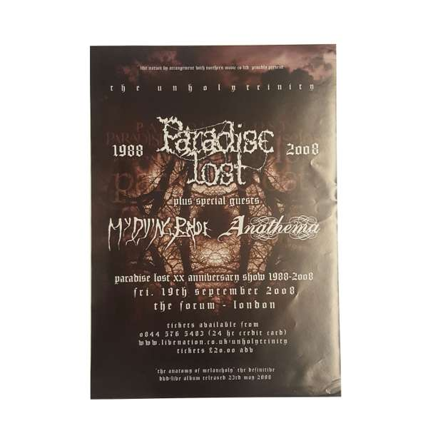 Paradise Lost -  20th Anniversary Tour Poster - Paradise Lost