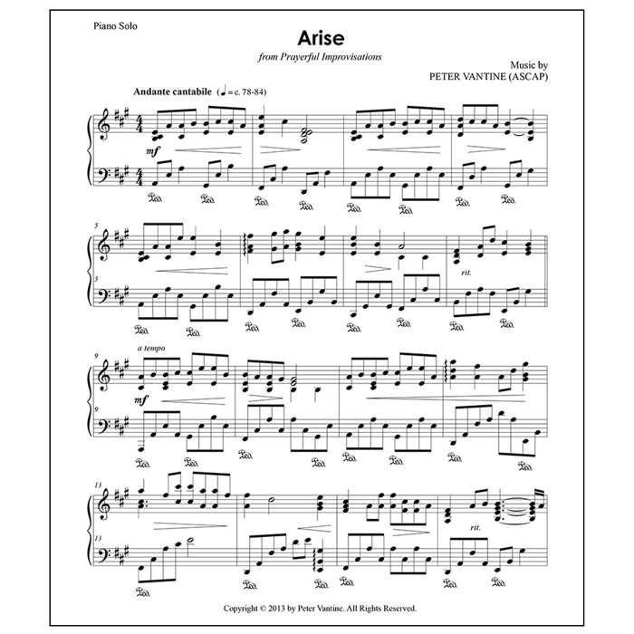 Arise (sheet music download) - Peter Vantine