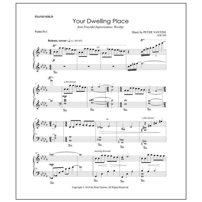 Your Dwelling Place (sheet music download) - Peter Vantine