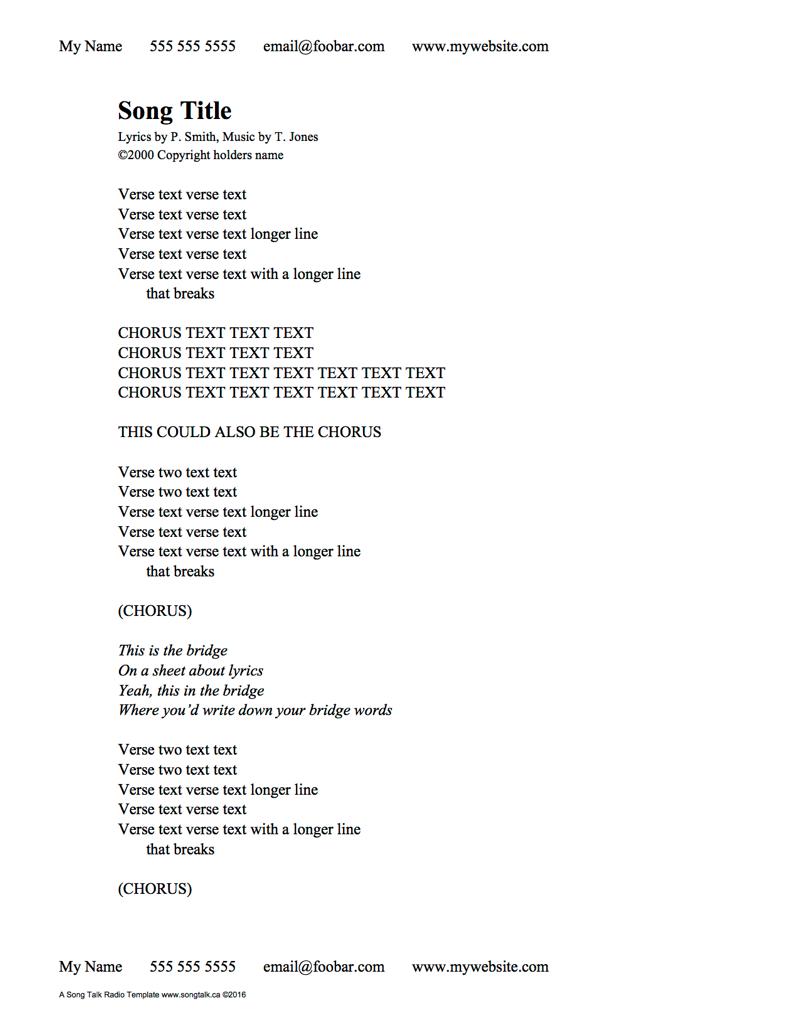 Handwritten Lyric Sheet