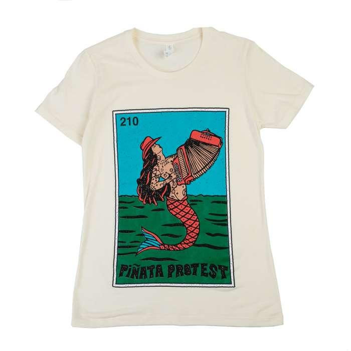 Sirena Mermaid Tee- Tan Full Color Ladies - Piñata Protest