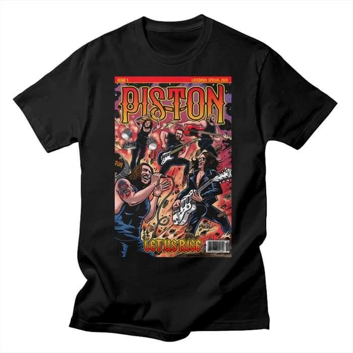 Piston 'Let Us Rise' Comic Book Black T Shirt - Mens - Piston