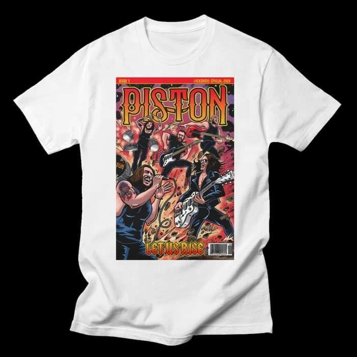 Piston 'Let Us Rise' Comic Book White T Shirt - Mens - Piston