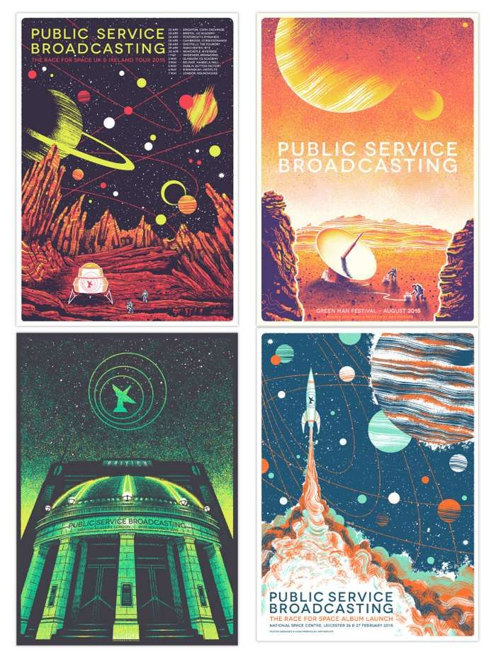 The Race For Space set of four A5 prints - PUBLIC SERVICE BROADCASTING