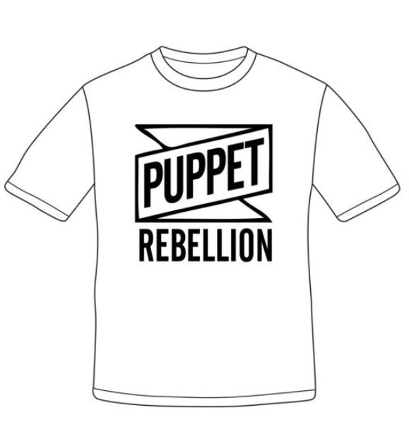 Men's White Logo T-Shirt - Puppet Rebellion