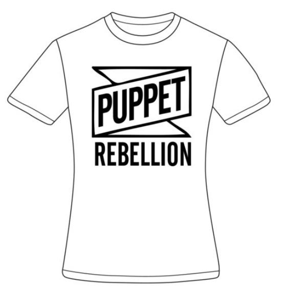 Women's White Logo T-Shirt - Puppet Rebellion