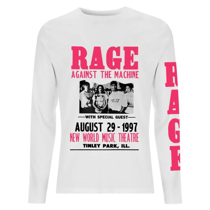 97 Flyer – White Longsleeve Tee - Rage Against the Machine