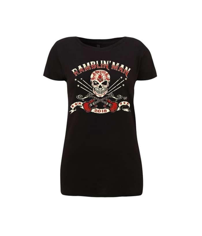 Blk Ladies Distressed Logo T-Shirt - Ramblin Man Fair