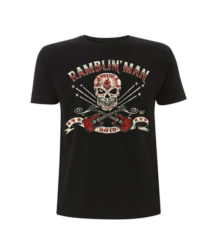 Blk Unisex Distressed Logo T-Shirt - Ramblin Man Fair