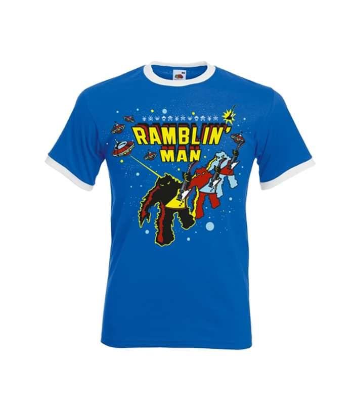 Blue Unisex Space Invader Ringer T-Shirt - Ramblin Man Fair