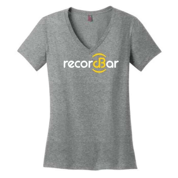 Ladies V-Neck Logo T-Shirt - recordBar