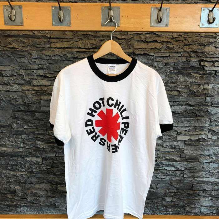 Asterisk - White Ringer Tee - Red Hot Chili Peppers