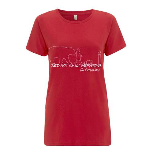 Getaway Outline – Girls Red Tee - Red Hot Chili Peppers