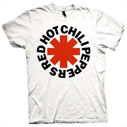 Red Asterisk - white Tee - Red Hot Chili Peppers