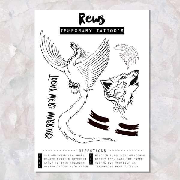 "REWS ""Warriors"" A5 Temporary Tattoo's - REWS"
