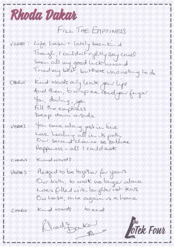 Handwritten Lyric Sheet - Fill The Emptiness - Rhoda Dakar