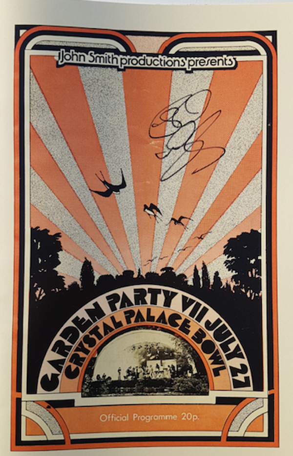 Garden Party, Crystal Palace, 1974 programme (reproduction) - signed by Rick - Rick Wakeman Emporium