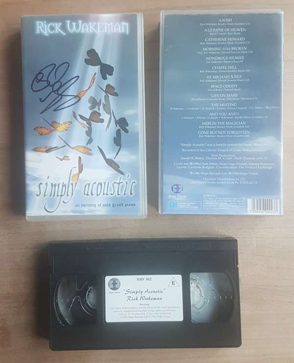 VHS - Simply Acoustic - an evening of solo grand piano - signed by Rick - Rick Wakeman Emporium