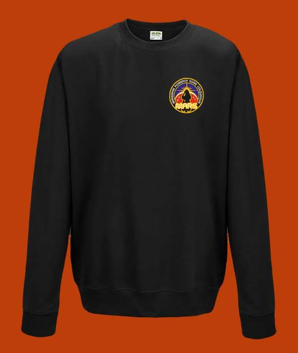 Space Badge Long Sleeved T Shirt with 75mm woven badge - Rick Wakeman: The Red Planet