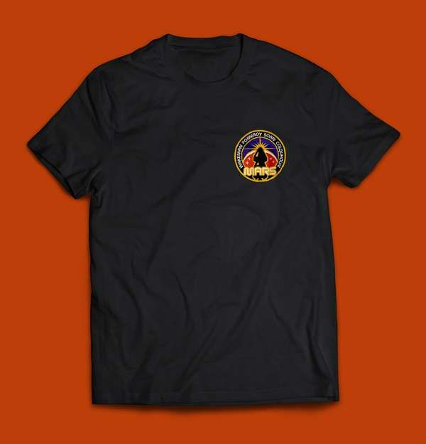 Space Badge T Shirt with 75mm woven badge - Rick Wakeman: The Red Planet