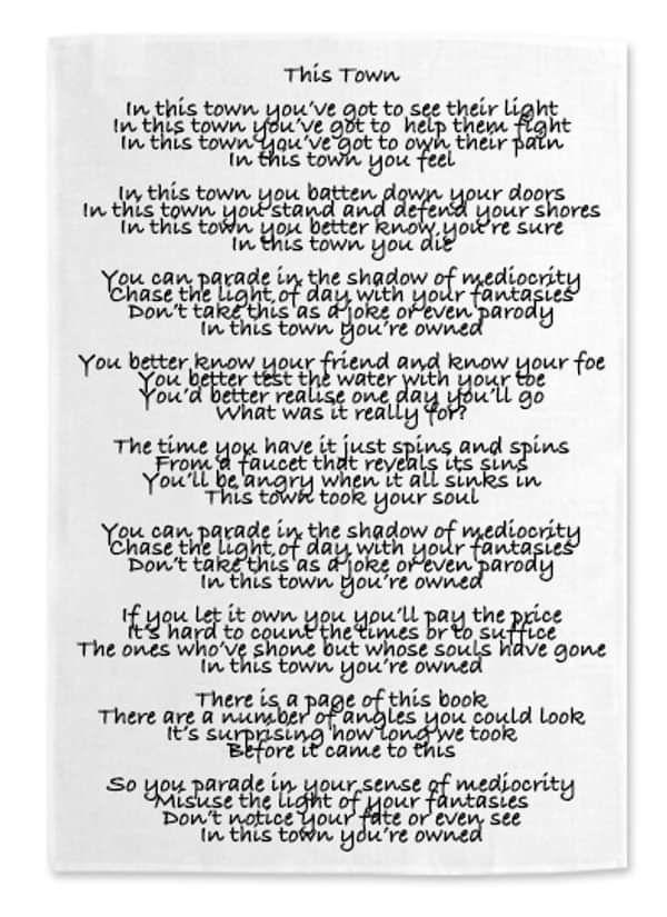 """""""This Town"""" Lyrics - Tea Towel - Robert Vincent"""