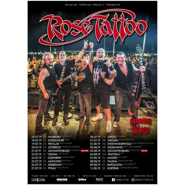 Rose Tattoo - 2019 Tour Poster - Rose Tattoo Merchandise