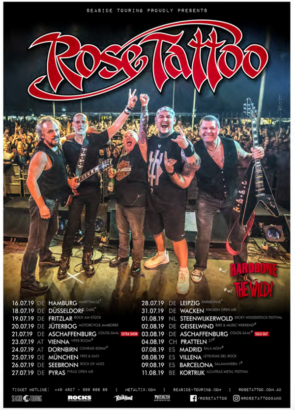 Rose Tattoo - Signed 2019 Tour Poster - Rose Tattoo Merchandise