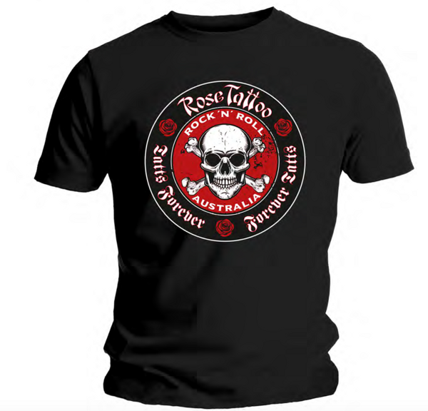Rose Tattoo - Skull & Crossbones T Shirt - Rose Tattoo Merchandise