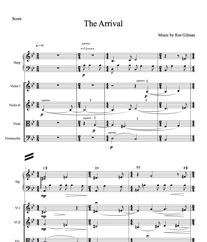 The Arrival - Score and Parts (Downloadable PDF) - Ros Gilman