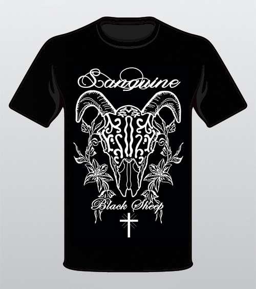 Black Sheep Skull & Flowers - Black T-shirt - Sanguine