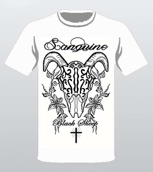 Black Sheep Skull & Flowers - White T-shirt - Sanguine