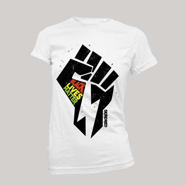 Black Lives Fist - Ladies White Tee - Skindred