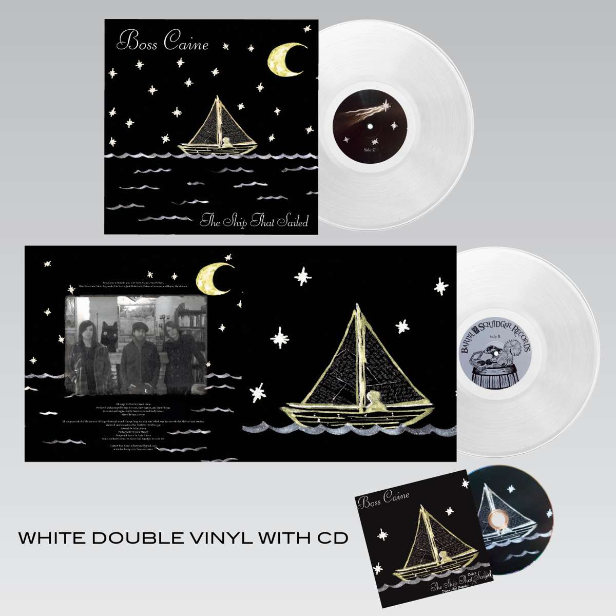 Boss Caine - The Ship That Sailed - Double White Vinyl LP + CD - Barrel And Squidger Records