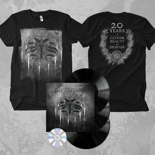 Swallow The Sun - '20 Years of Gloom Beauty and Despair - Live in Helsinki' Gatefold Black 3LP+DVD  + T-Shirt Bundle - Swallow The Sun