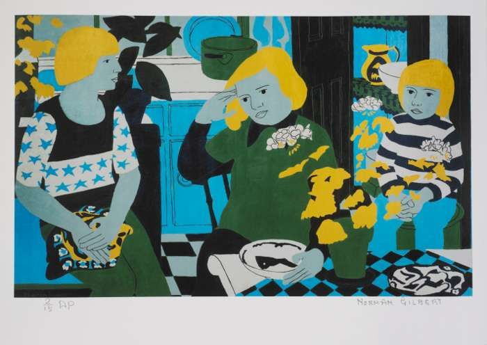 Norman Gilbert 'People in a Kitchen with Plants' - The Glad Cafe