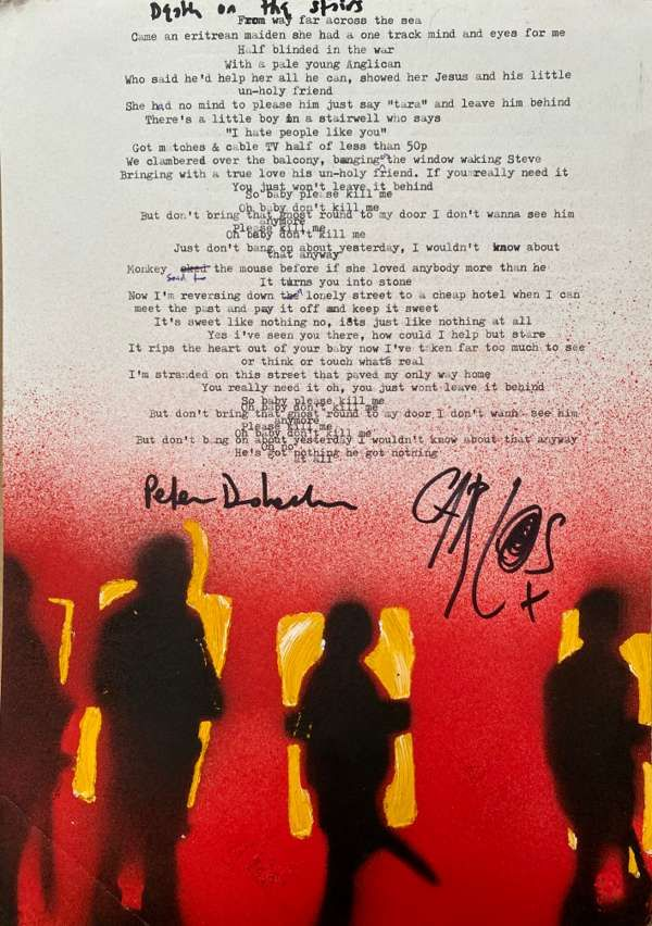 Death On The Stairs Lyric Sheet No.2 *Signed* - The Libertines