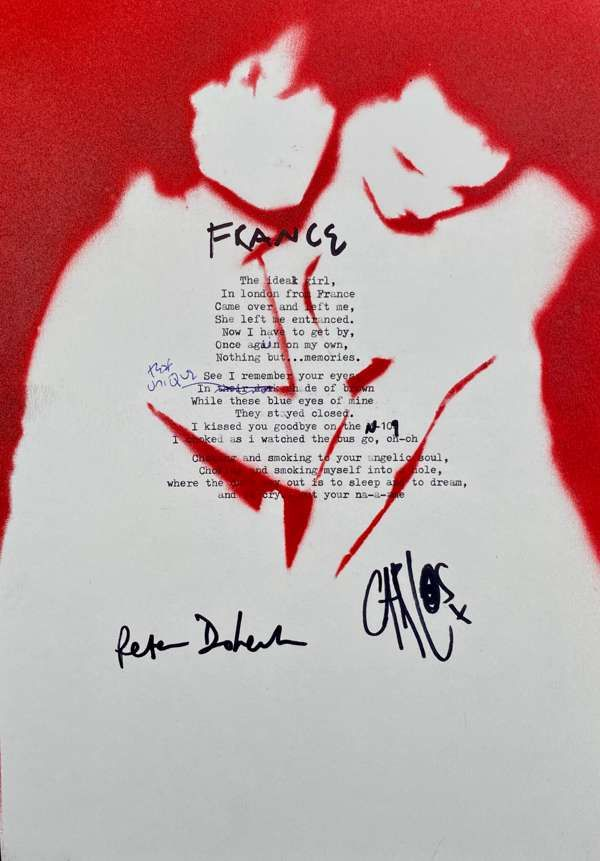 France Lyric Sheet No.1 *Signed* - The Libertines