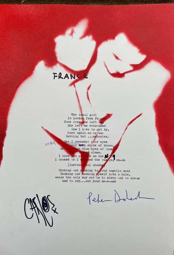 France Lyric Sheet No.2 *Signed* - The Libertines